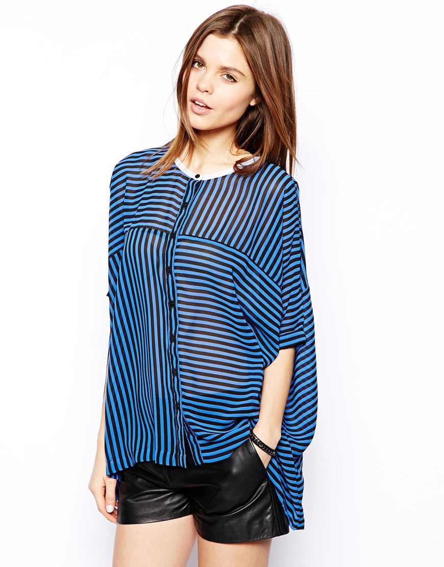 summer blouses women clothing 2014 Blouse with Contrast Collar in Cut About Stripe china apparel suppliers Polyester model-cp205