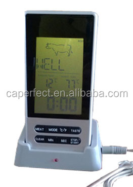 large LCD display wireless bbq oven thermometer with timer