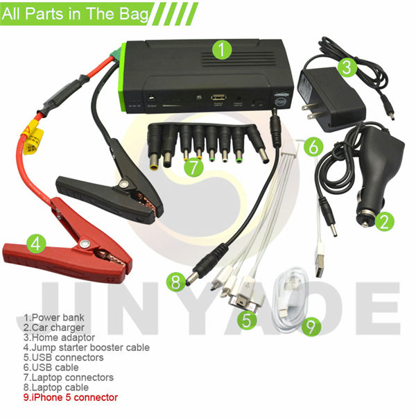 portable 12v battery pack car 13600mAh compact jump start battery