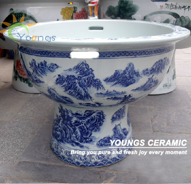 Big Jingdezhen Blue and White Porcelain Ceramic Pedestal Fish Pot Bowl For Outdoor Outside