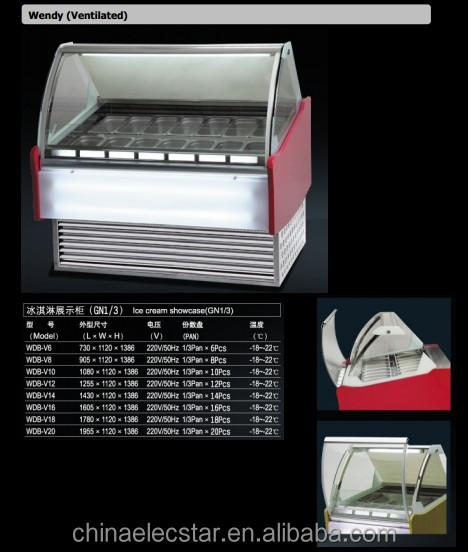 Sunny ice cream scooping freezer,dipping cabinet with static cooling.ice cream showcase, ice cream shop display cabinet