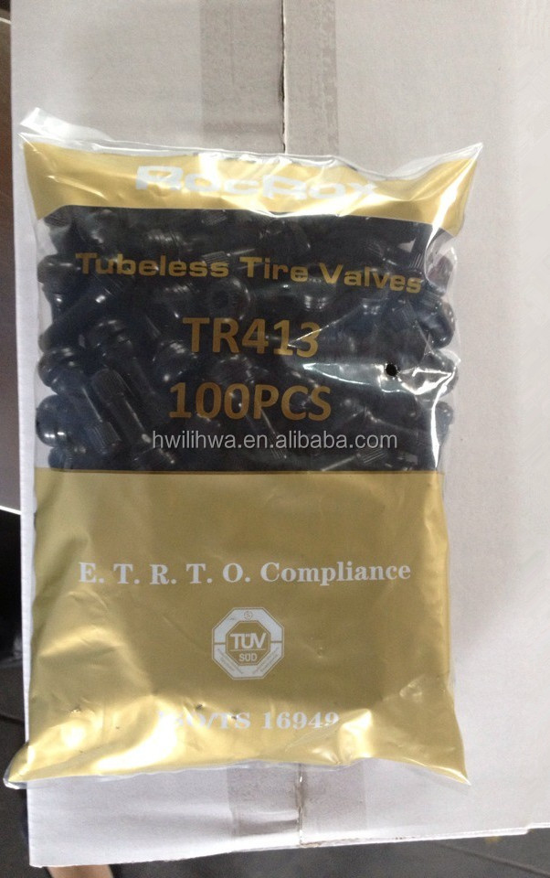 Tubeless snap-in tire valves TR413 TR414