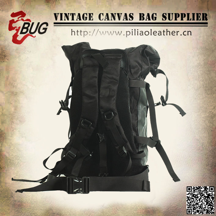 Black custom coated canvas waterproof camping backpack wholesale