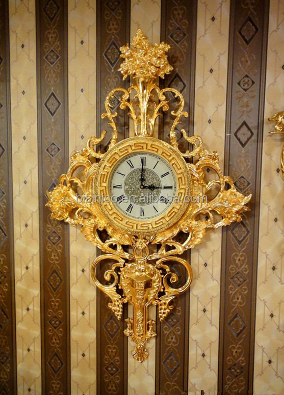 Luxury Wall Decorative Hanging Brass ClockRetro Brass With 24k Gold