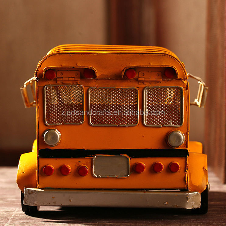 Handmade model bus antique American school bus for home decorations