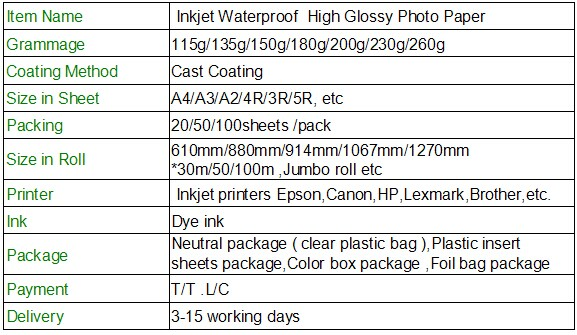 115g-260g inkjet waterproof high glossy photo paper for dye and pigment ink