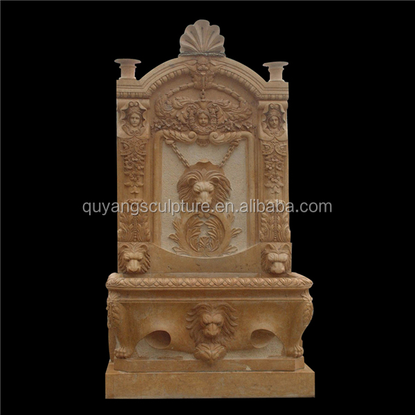 Cheap Marble Indoor Wall Water Fountain Lion Head Decoration