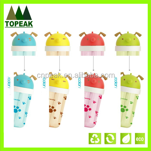 Lovely Dog Shape Design Straw Drinking Cup Kids Plastic ...