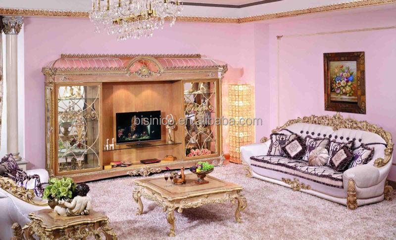 Baroque style living room sofa set retro wood carving for Baroque living room ideas