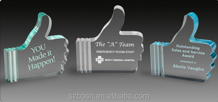 A thumbs-up Design Resin Awards/trophy With High Transparent