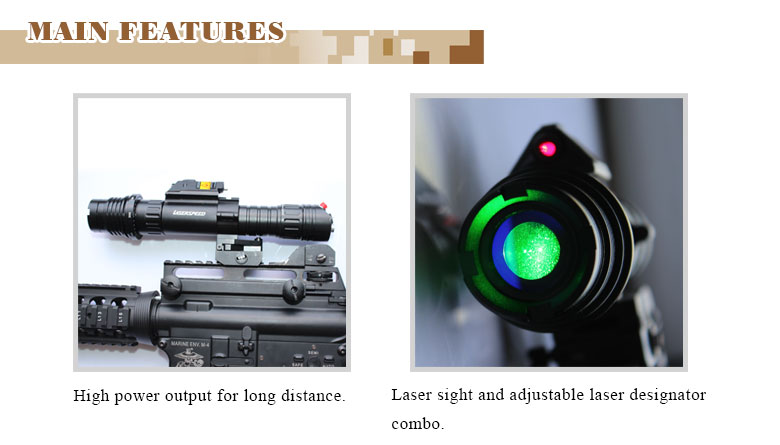 Tactical long distance rifle infrared laser sight and 100mw green laser flashlight