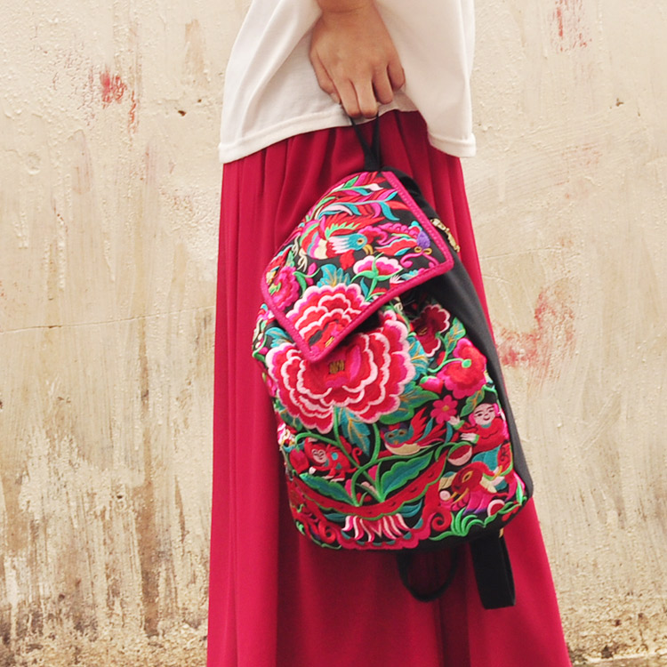 China national style Hmong embroidery double backpack bags