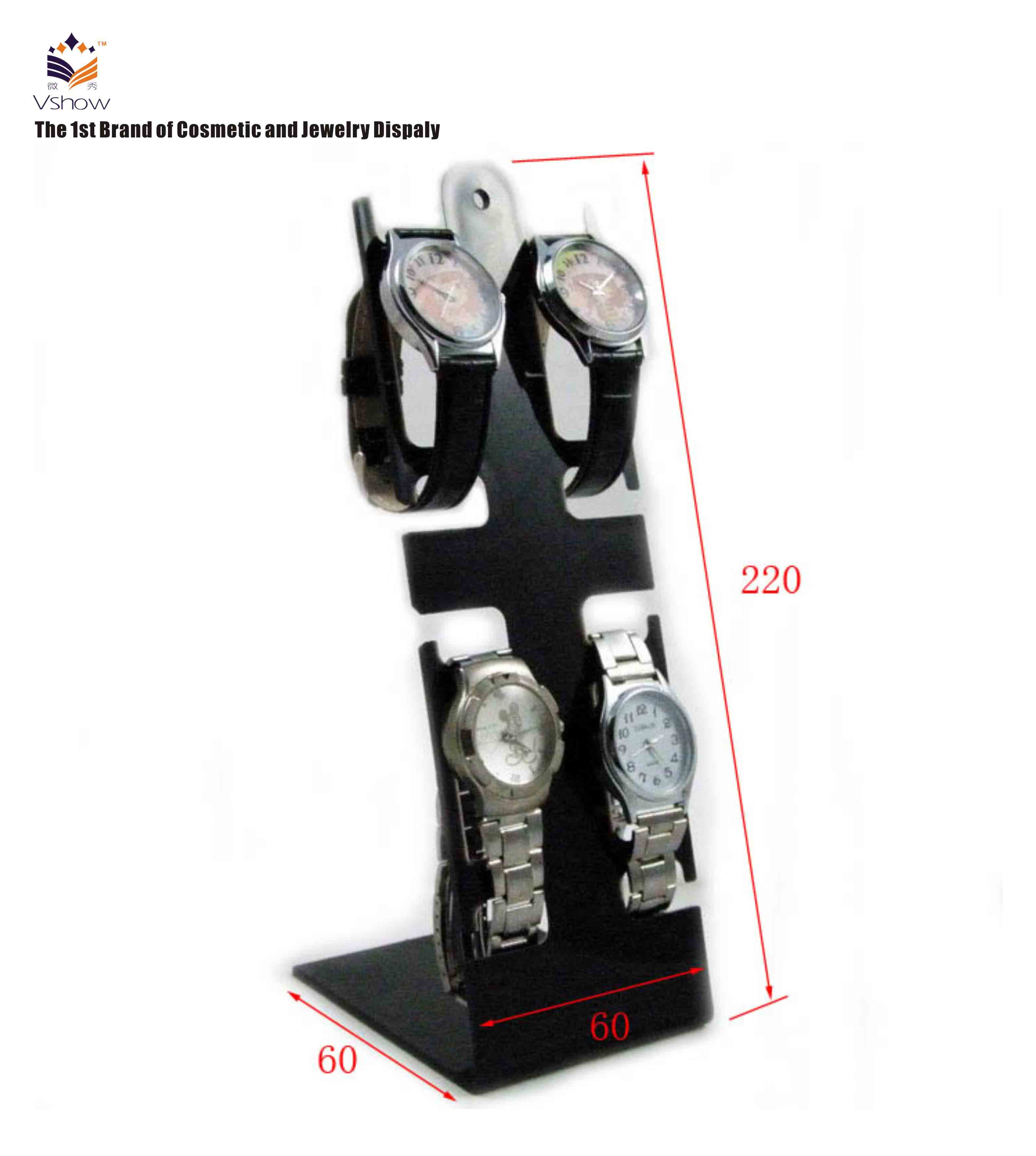 Modern black acrylic rotating wooden watch display stand rack