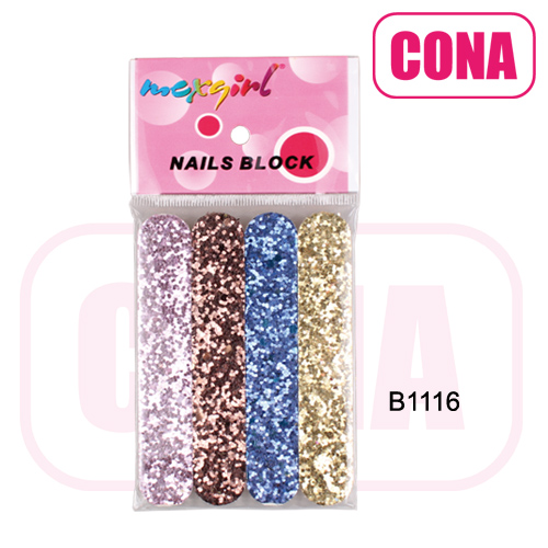 4pcs colorful glitter emery board