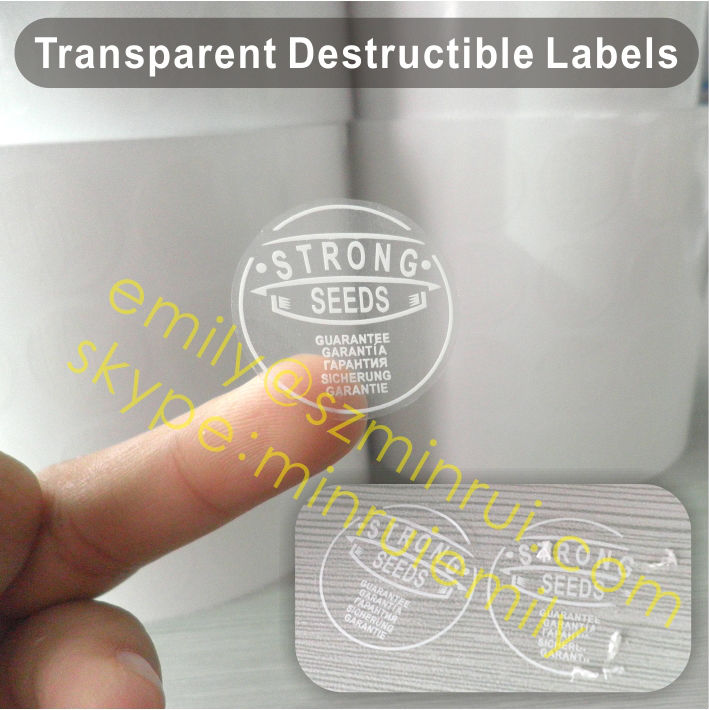 Custom warranty void if seal broken transpa destructible vinyl waterproof stickers printed onto clear permanent self
