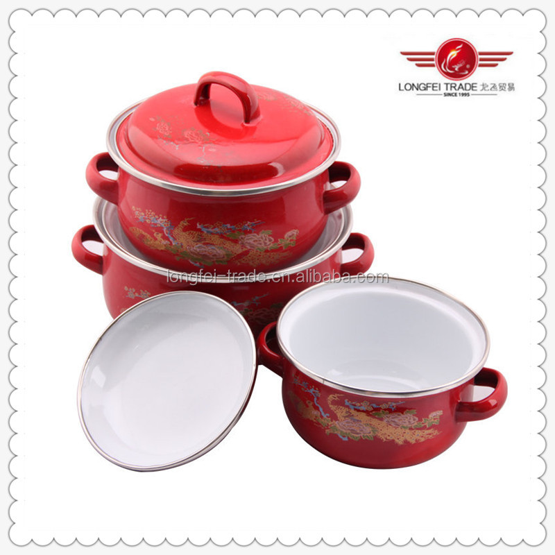 Enamel Casserole Set With Full Flower Decals Kitchen Tool