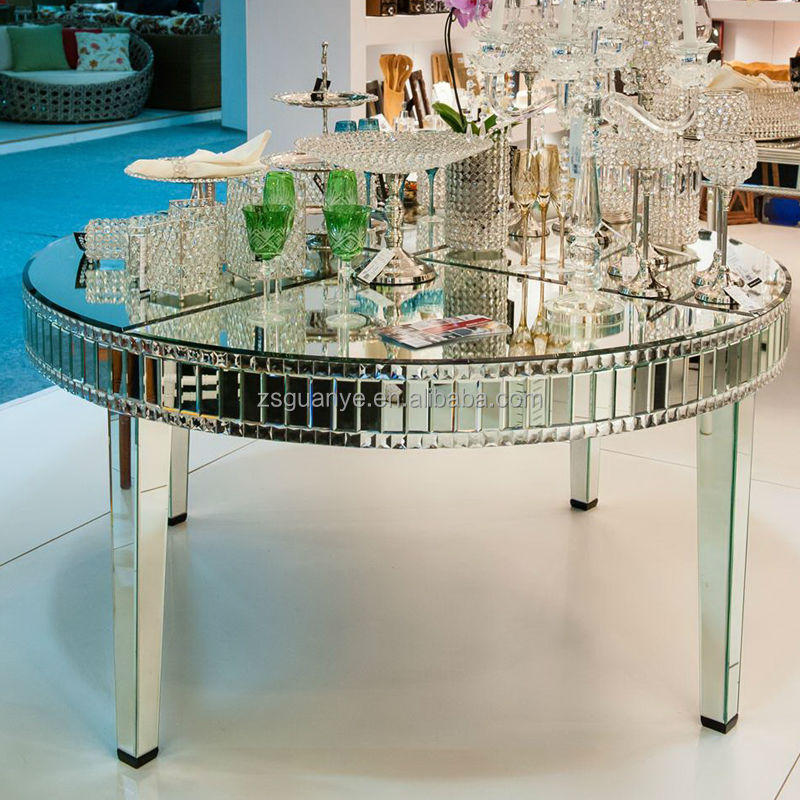 large round mirror dining table
