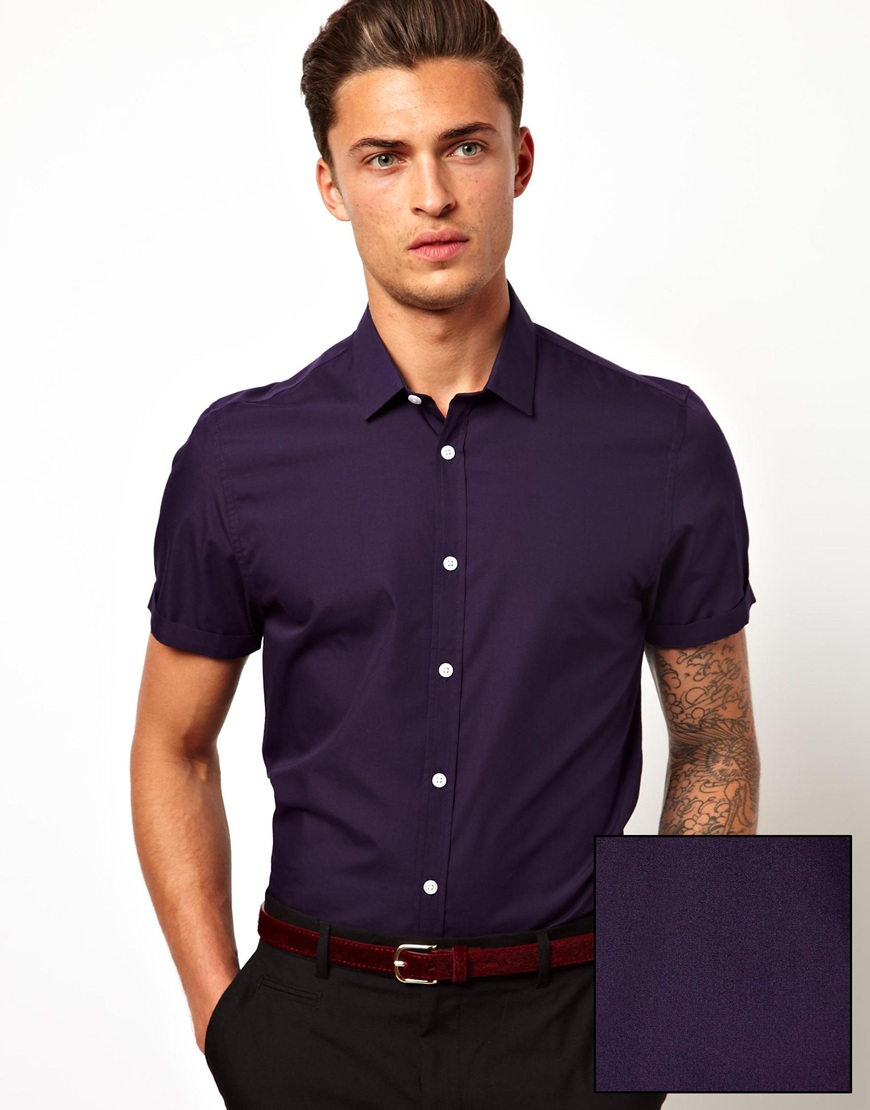 Fashion men shirt in short sleeve cotton fabric mens dress for Dress shirts for short men