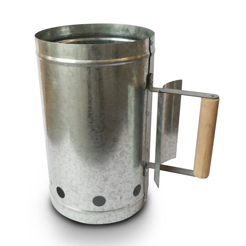 Stainless Steel Inox Chimney Charcoal Starter With Wood Handle