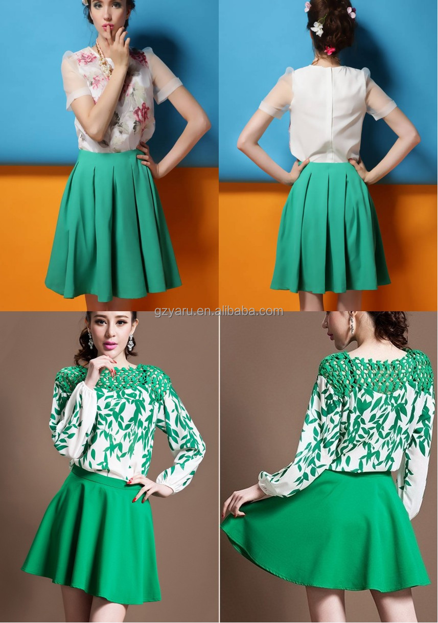 Clothing Prices in Turkey 2014 Linen Mini women Skirt with Scallop Hem