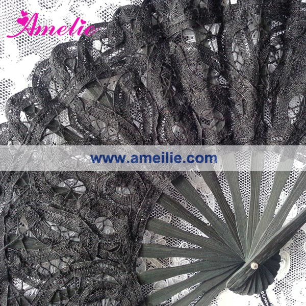 Wholesale Gothic Lolita Decoration Black Lace Fan