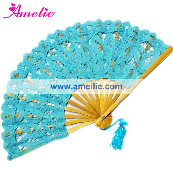 20cm Turquoise blue wedding craft bamboo fan
