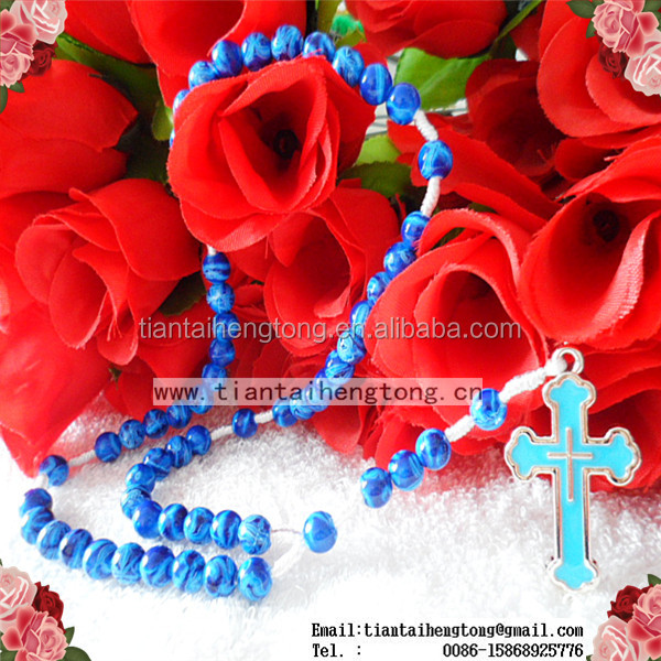 Hot sell 8mm blue plastic cord rosary,round bead rosary necklace with blue cross