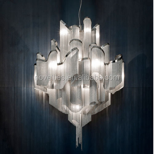 Aluminium Chrome Chain Suspension Chandelier Ceiling For Hotel ...