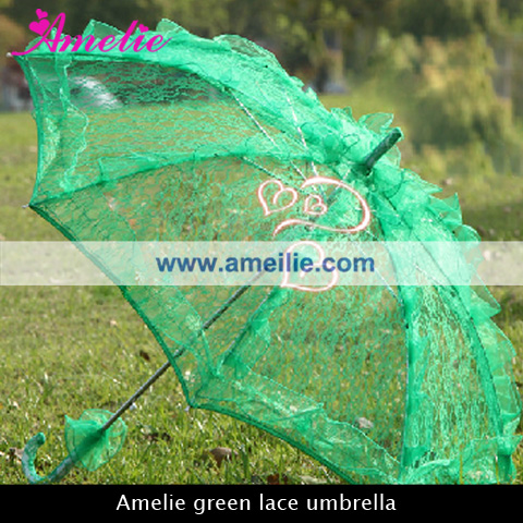 Ladies Green Umbrella with lace