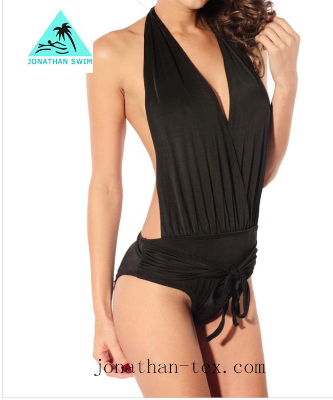 black high quality wholesale girl one piece swimwear/sexy one piece swimsuit