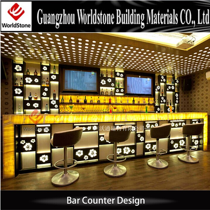 Artificial Marble Illuminated Bar Counter Nightclub