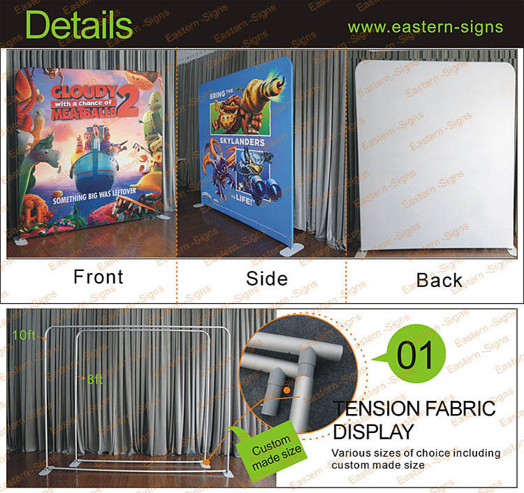 10ft Straight Tension Fabric Advertising Display Stands