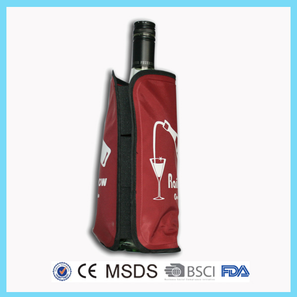 Portable Nylon Reusable Wine Bottle Gel Cooler For Party
