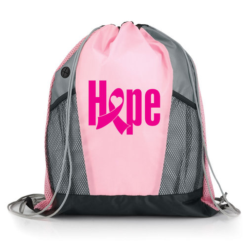 2014 New Pink Ribbon Breast Cancer Awareness Butterflies Nylon Mesh Earphone Hole Backpack