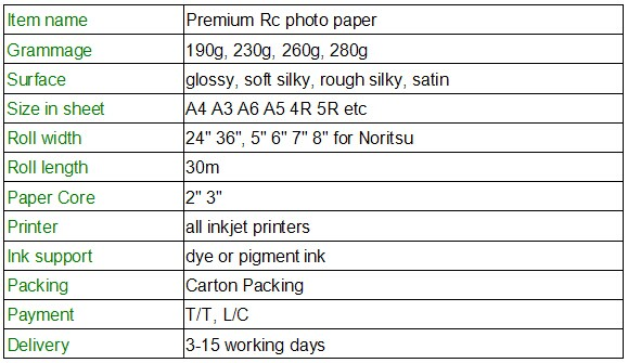 260G glossy RC photo paper ,rc glossy paper