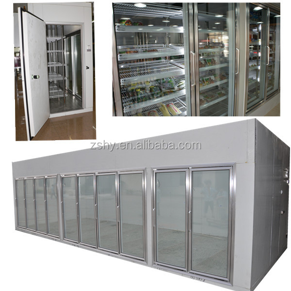 supermarket glass door walk in cold room /display freezer room