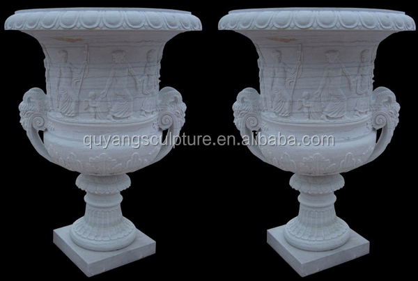 Garden White Marble Outdoor Flower Pot