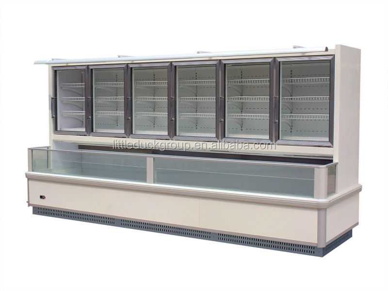 Wall type Multideck Refrigerated Showcase /glass door freezer/commercial freezer
