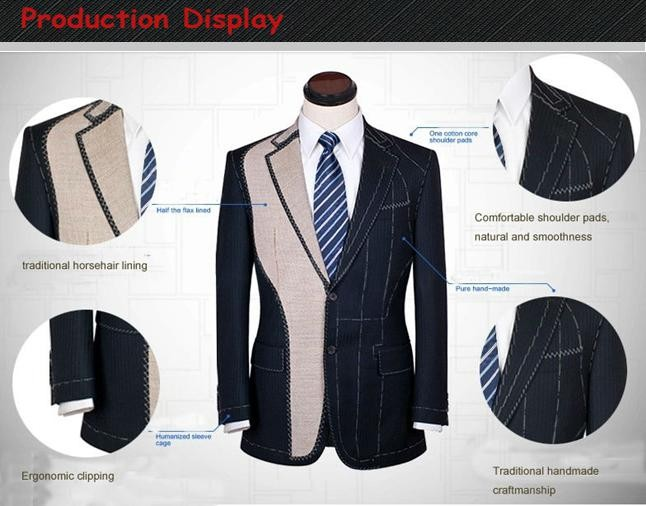 Slim fit 3 buttons notch lapel custom made men suits with 100% wool fabrics