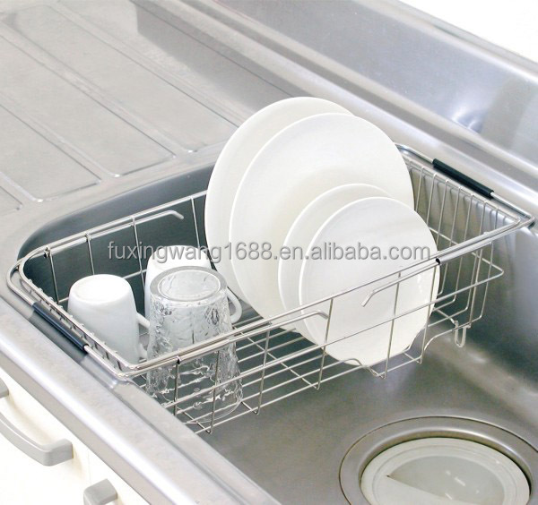 Lovely Kitchen Basket Adjustable Over Sink Dish Drainer In Stainless Steel