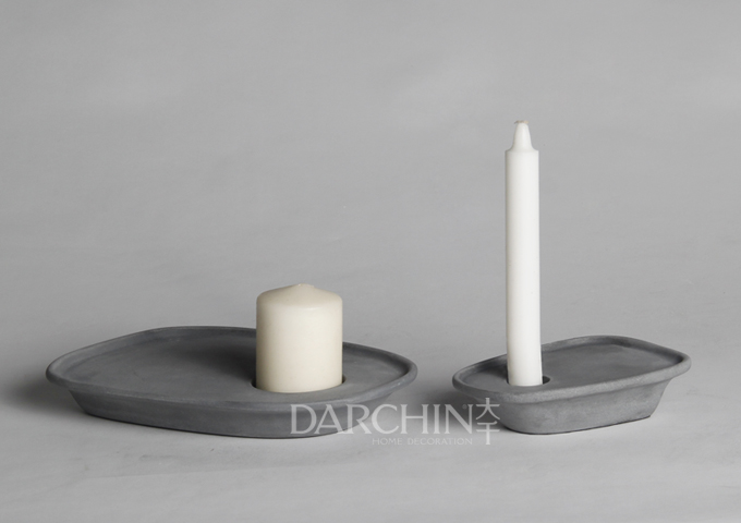 Home interior polyresin stone light gray candle holder for Flat candle holders