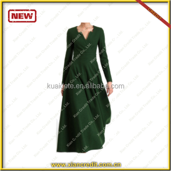 2014 Ladies Fashion Autumn and winter green Dresses made of woolen KDT- D22