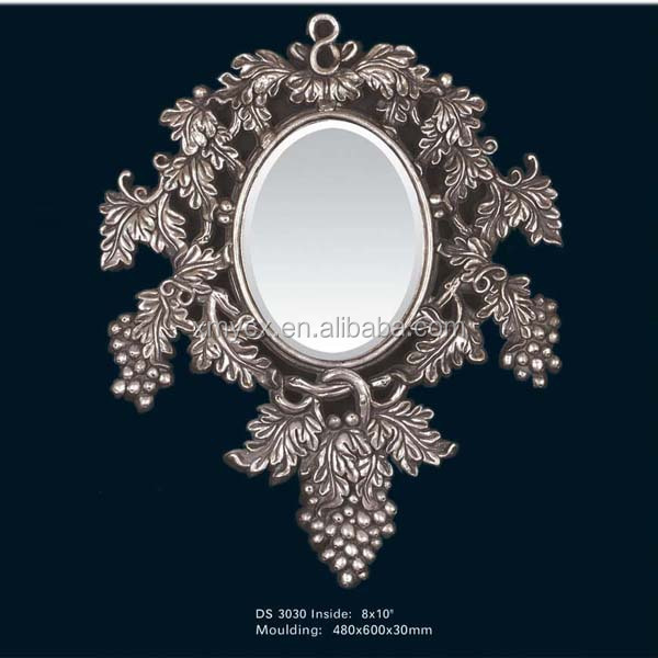 Polyresin large baroque salon wall mirrors buy salon for Plastic baroque mirror