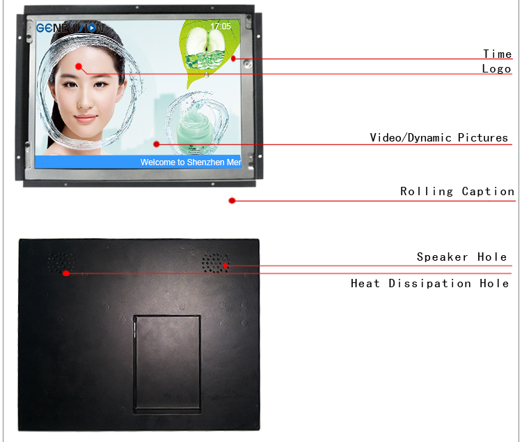 15 inch indoor TFT video monitor with composite video input+open frame lcd monitor (MO-150)
