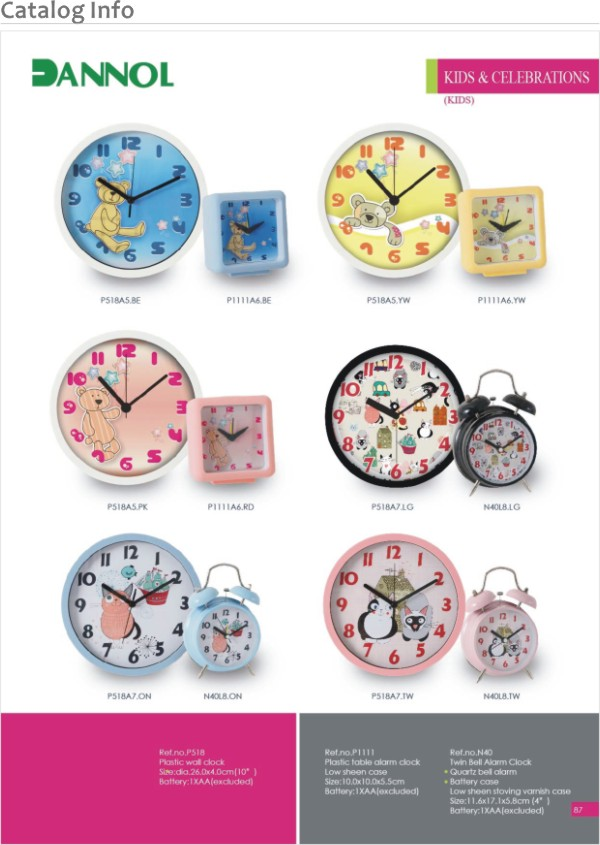 3 color Cute alarm clock return children gifts for birthday