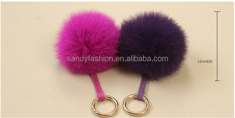 Stylish brown color genuine fox fur pom poms