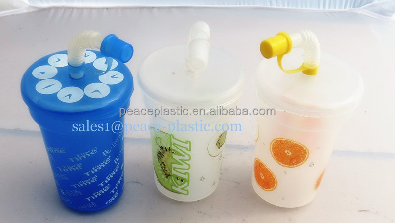 2014 New Promotional Plastic Travel Cup With Lid And Handle