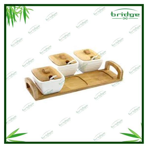 3-pc hot sale Nature bamboo wooden simply classic ceramic kitchen accessories spice jar sets rack shelf holder