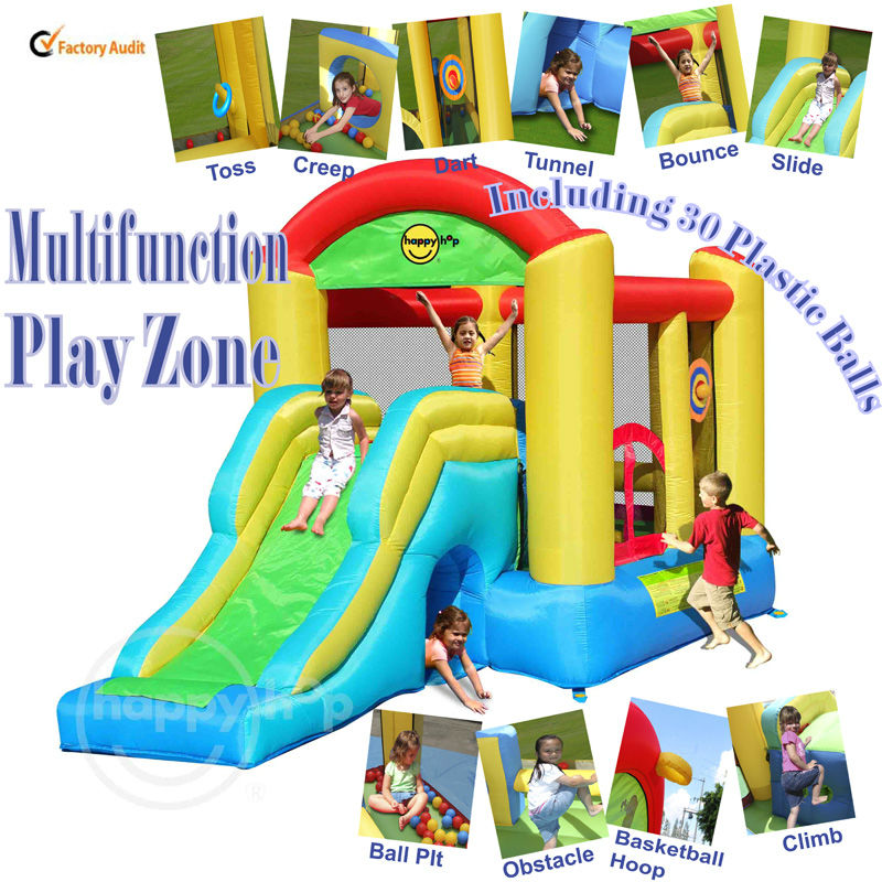 Happy Hop 9506N--inflatable multifuction combo bouncer slide with tunnel