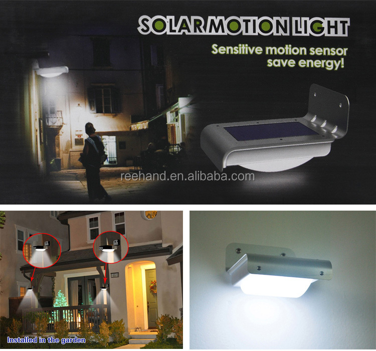 Freeshipping Solar Powered 16 LED Indoor Lighting/Lamps Wall Ray/Sound sensor